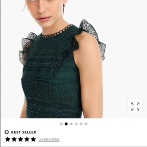 J. Crew green lace ruffle sheath dress